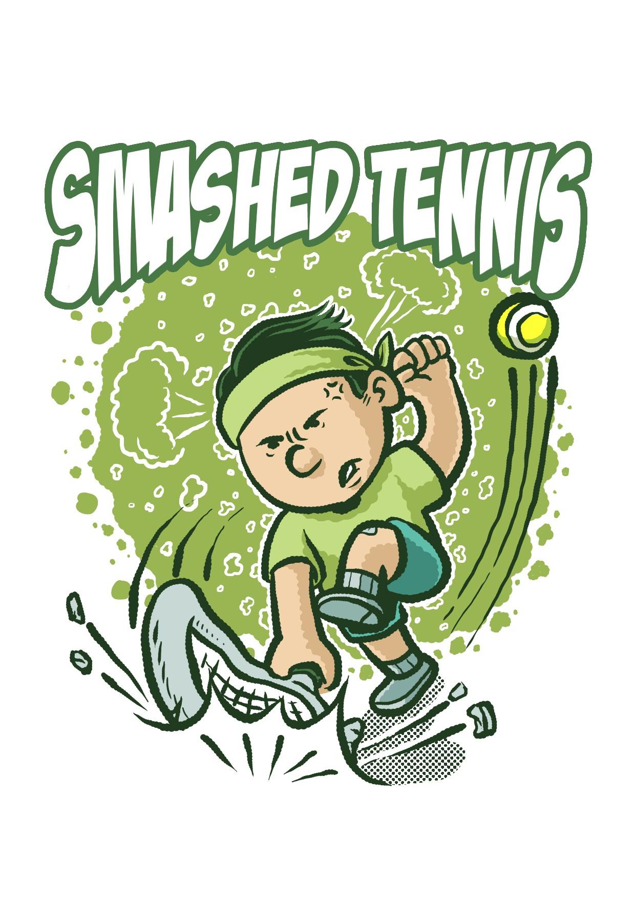 Cool Kid Cartoon Tennis Player Character