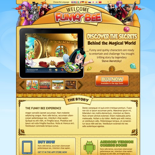 Website design for Funky Bee Games