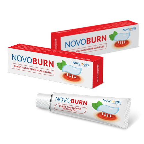 Tube packaging design for medical product with simple custom illustration.