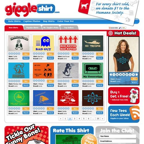 Giggleshirt.com web site (mockup provided)