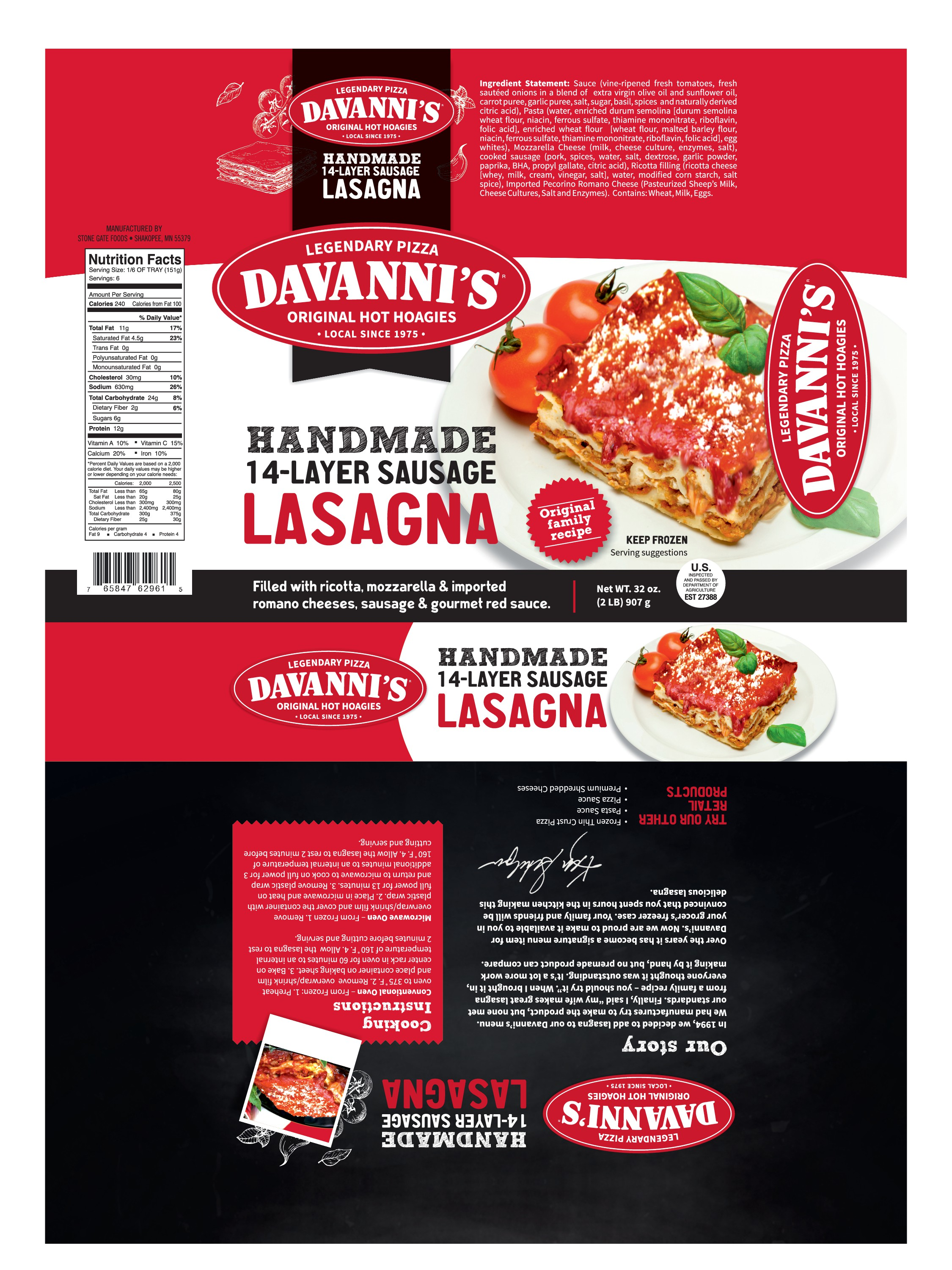 We need a major upgrade to our Retail Lasagna Packaging!