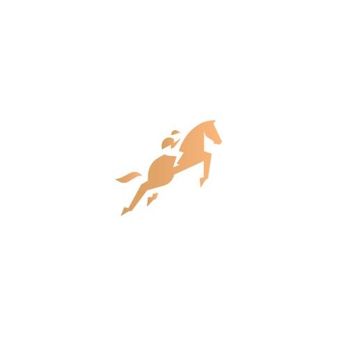 Abstract horse riding logo design
