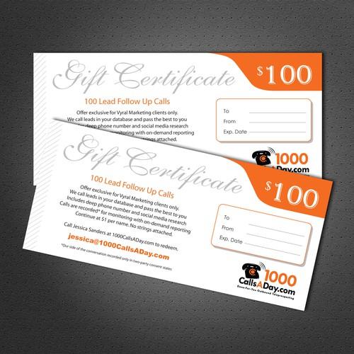 Design a gift certificate for CallsAday.com