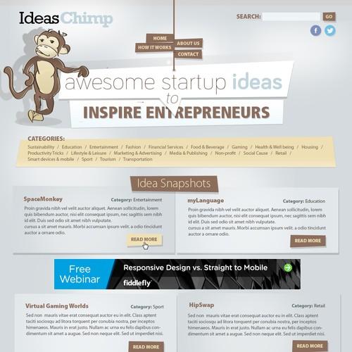 IdeasChimp - 'awesome startup ideas to inspire entrepreneurs' needs a new website design