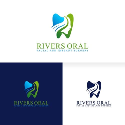Dental + people with river logo design concept
