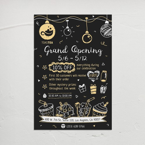 """Grand Opening"" flyer design in blackboard menu style for new Tea shop in Los Angeles."