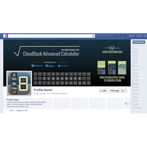 Bold Facebook Cover Design Concept For Mobile App