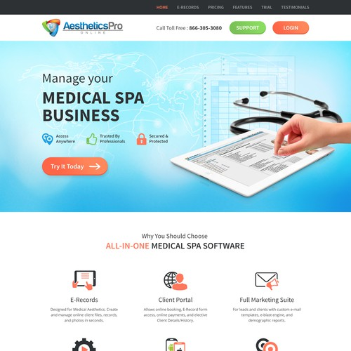 Landing page for Med Spa business