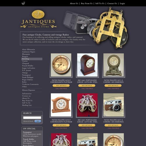 Jantiques.com - An exclusive antique collection & shop. Looking for designers with great detail.