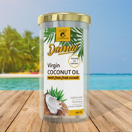 Virgin coconut oil label design