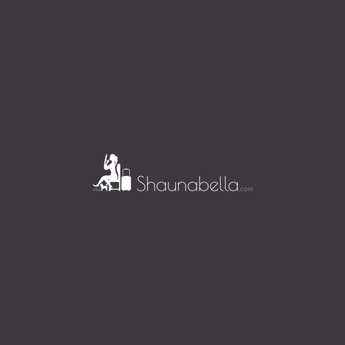 A minimalist black font with feminine silouette putting on makeup. include a tiny poodle and carry on luggage!:)