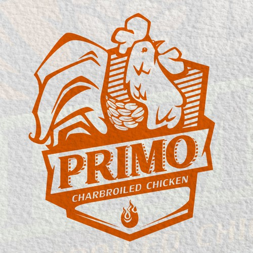 Primo - Hipster Modern Fun emblem needed for charbroiled chicken fast casual restaurant
