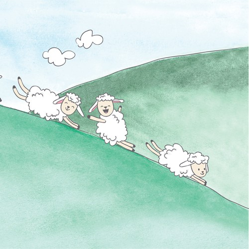 Watercolor sheep illustrations for a children book