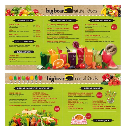 Menu design for Hip organic juice bar