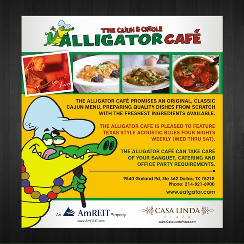 Create and ad for Alligator Cafe