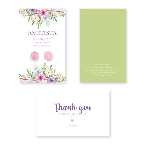 Watercolor floral earrings card design