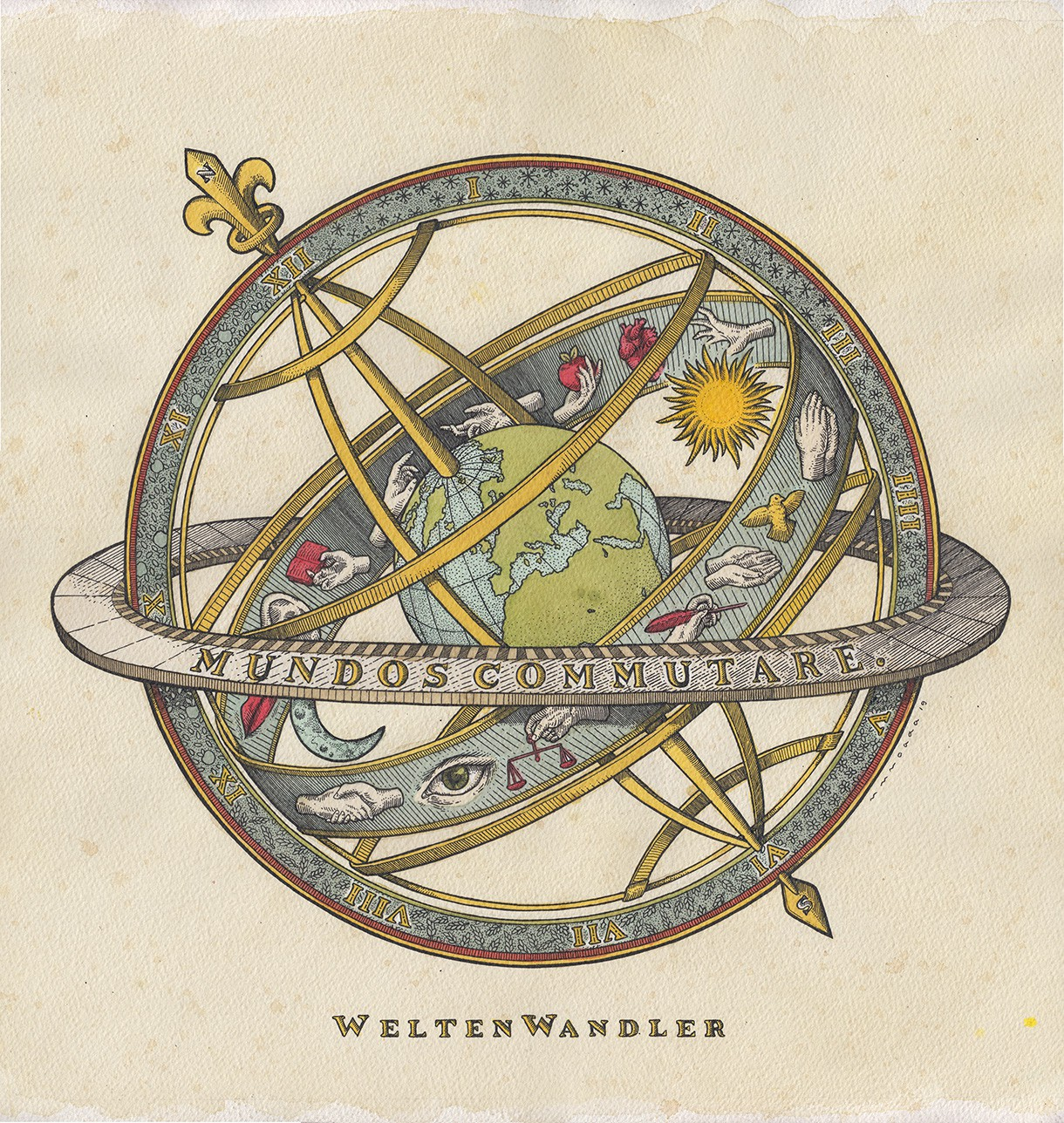 Watercolor drawing artwork for WeltenWendler armillary sphere