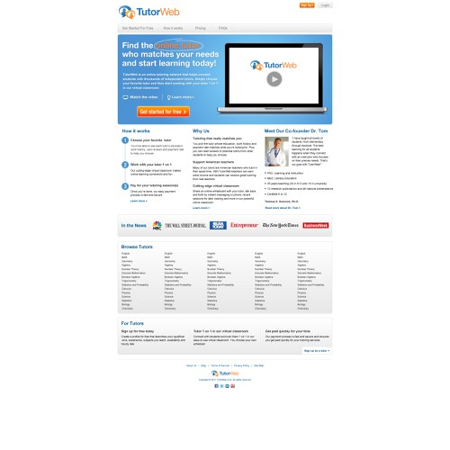 Create the next Web Page Design for TutorWeb