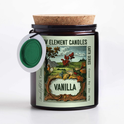 Four element candle label design