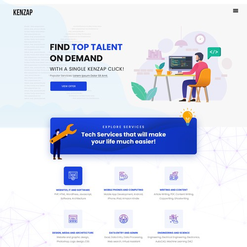 Homepage Design for KENZAP