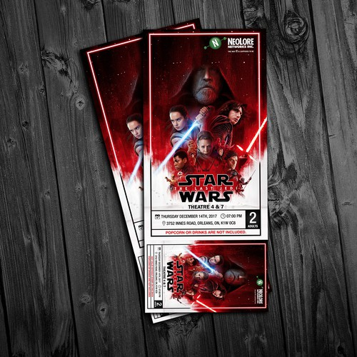 Star Wars - 8 : The last jedi movie tickets