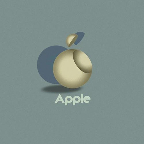 Apple  Logo in Bauhaus style