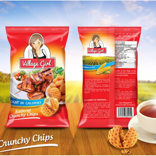 Create a Delicious illustration for a Crunchy Chips Snack