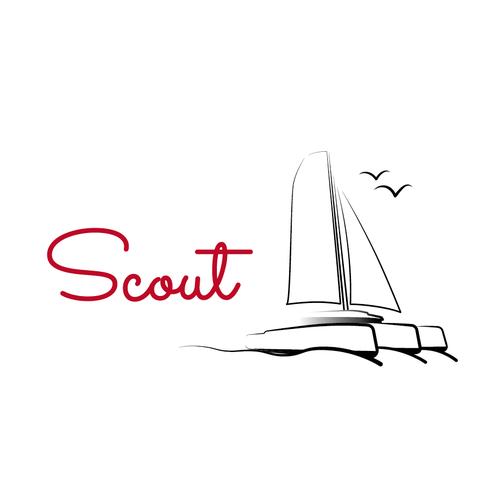 Create a sailboat logo for a couple cruising the world