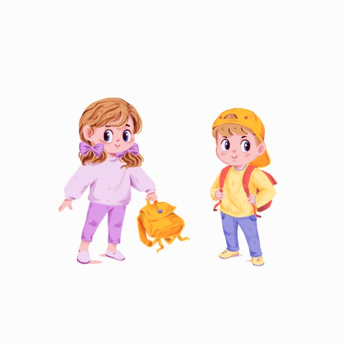Girl and boy illustration
