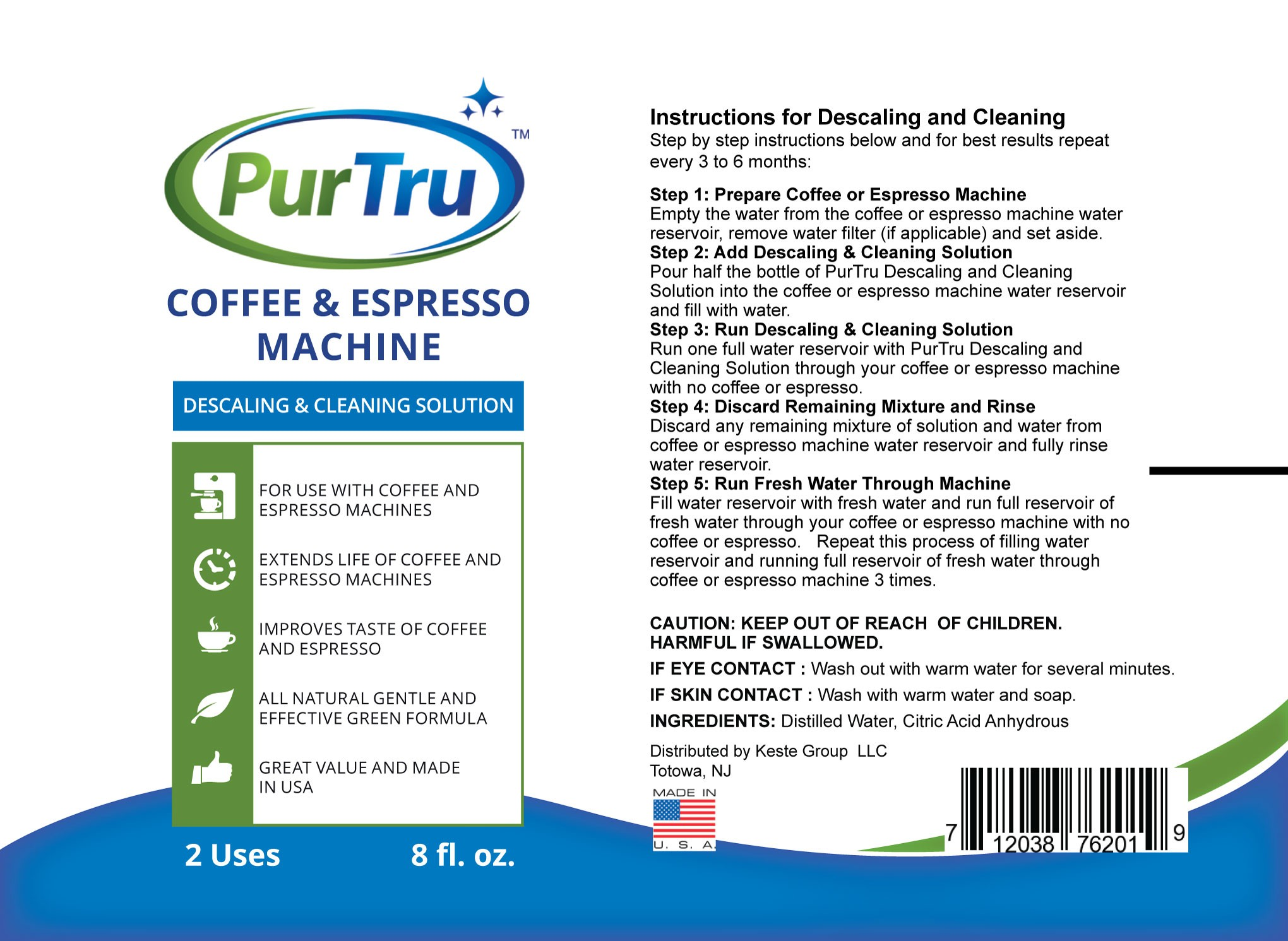 All natural coffee & espresso machine cleaning & descaling solution