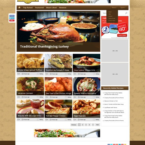 Website Design For Recipe Site