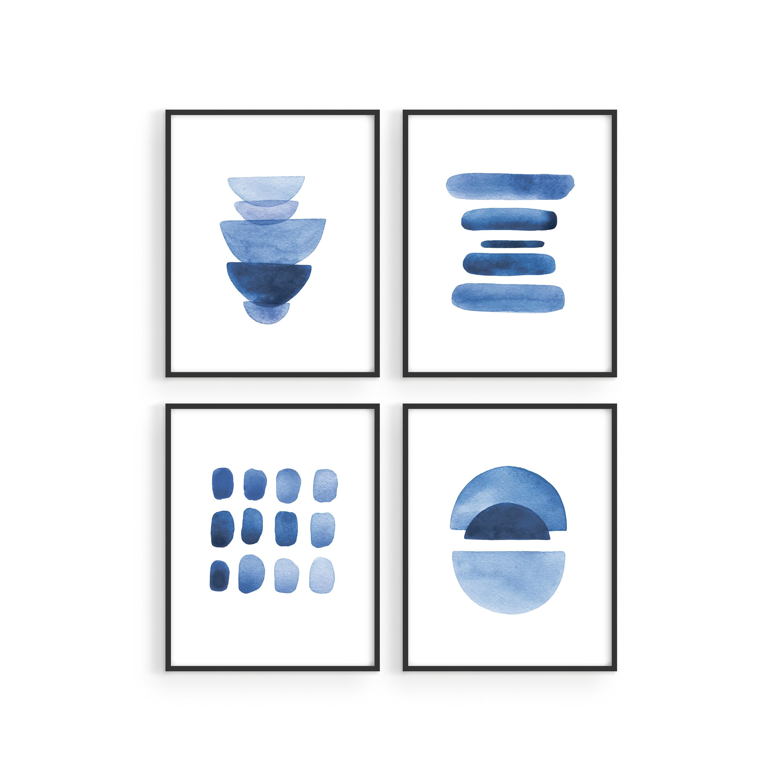 11. Indigo blue wall art set
