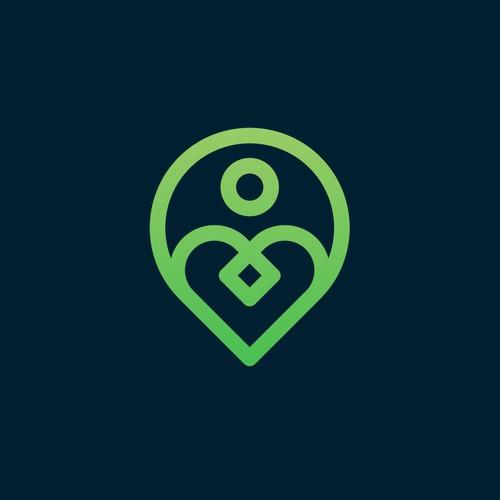 heart + pin local + people