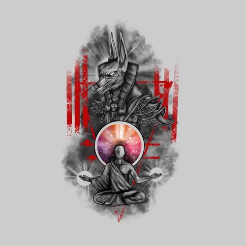 tattoo anubis and man meditation
