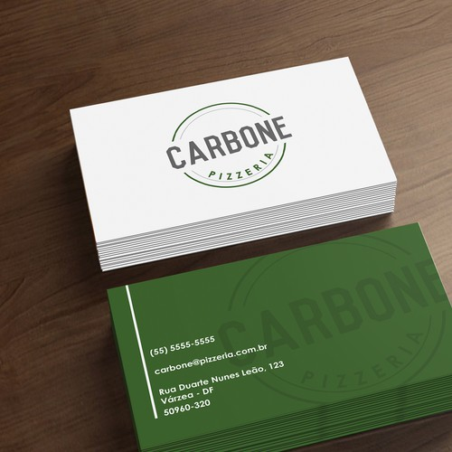 Logo and business card for a pizzaria