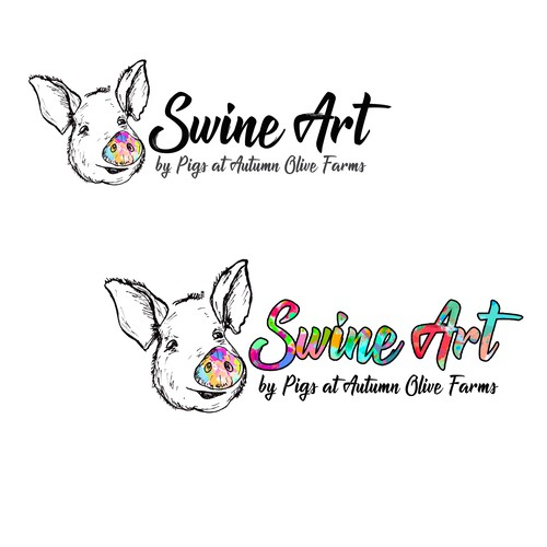 Artistic Logo for paintings made by pigs at a farm.