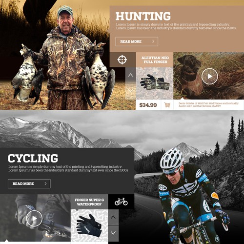 Webdesign for outdoors-Glacier Glove