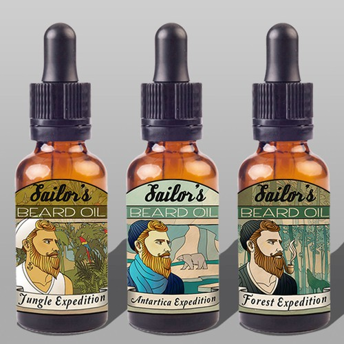 Awesome labels for Sailor's Beard Oil