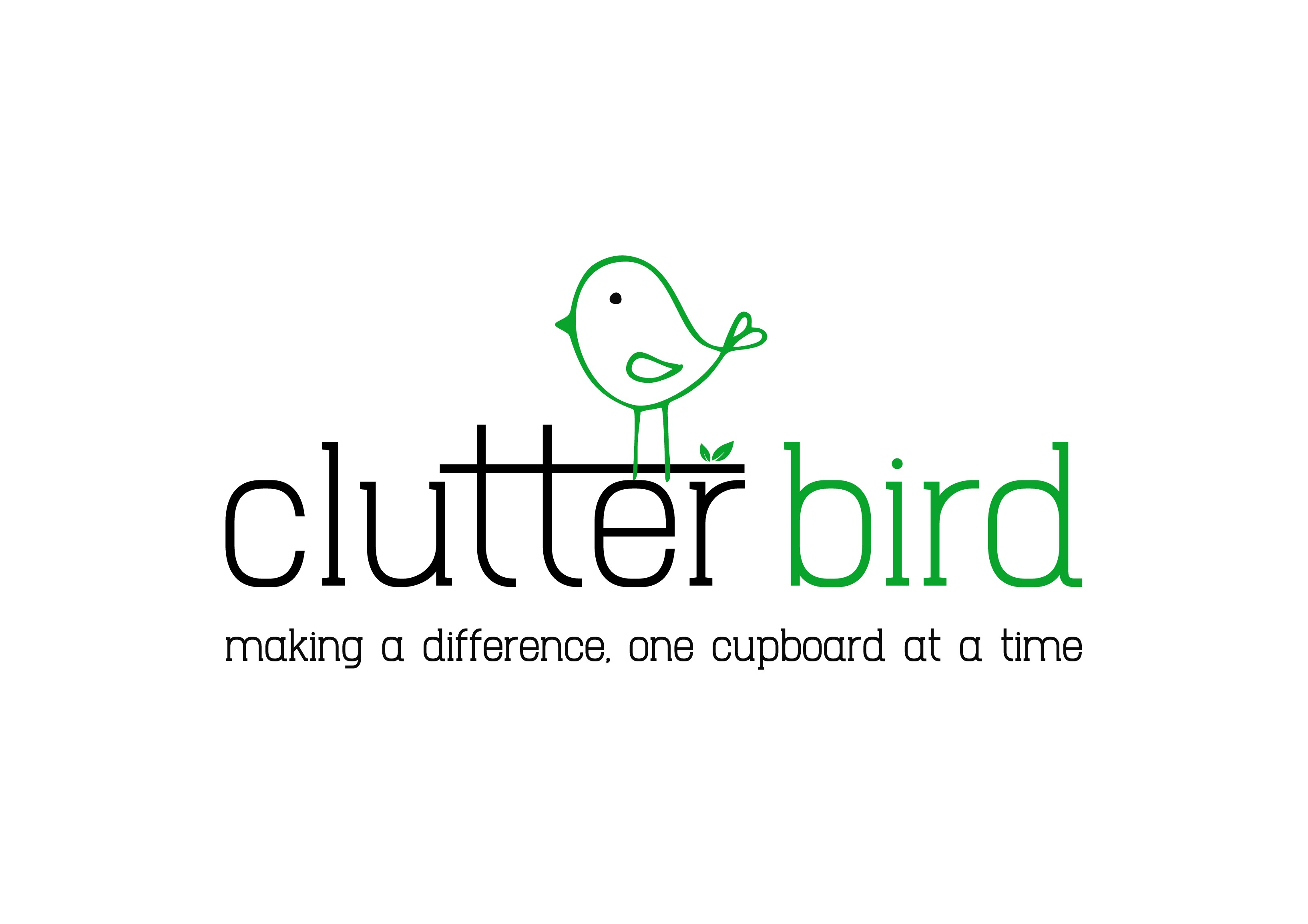 Create a simple, clean, uncluttered logo for a decluttering services provider WITH A HAND DRAWN BIRD AND HAND DRAWN LOOK