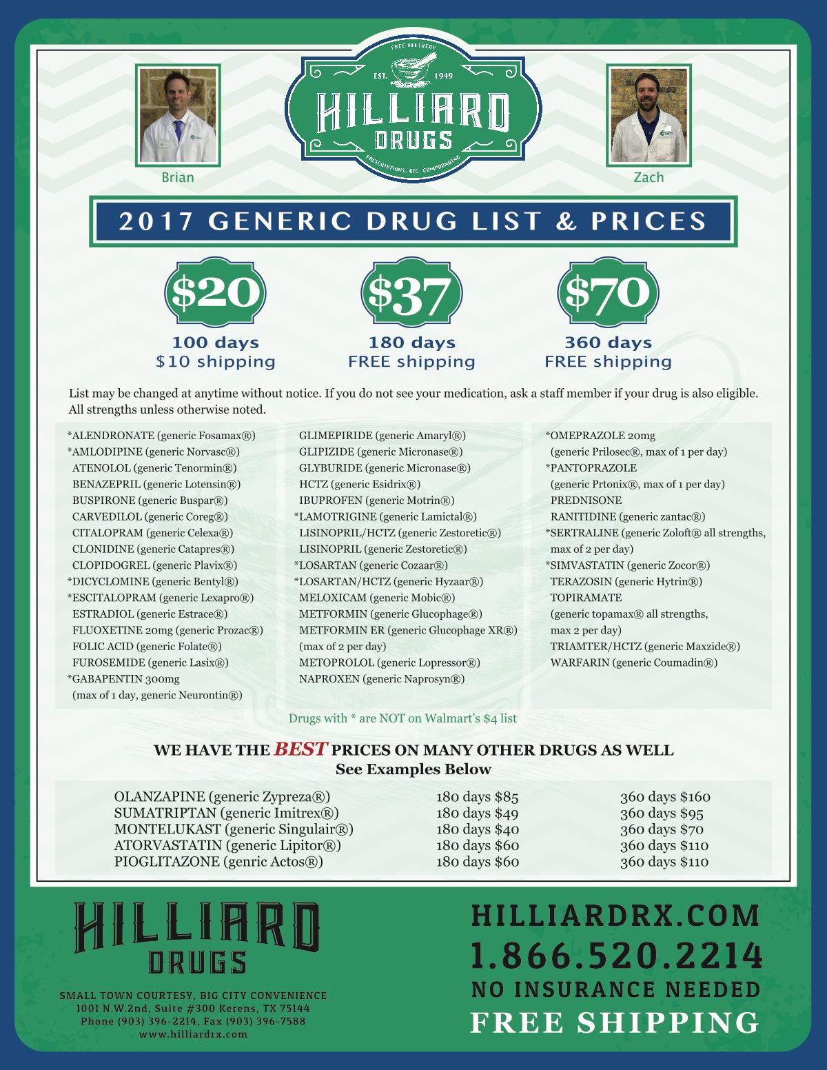 2017 Hilliard Drug Extended Day Supply Generic Drug List