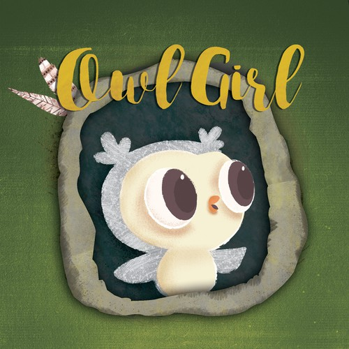 "Book cover design proposal for the story ""Owl girl"""