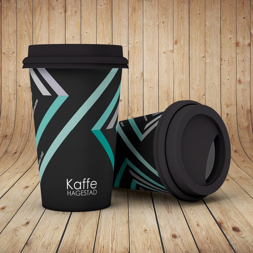 Bold modern and elegant coffee paper cup design