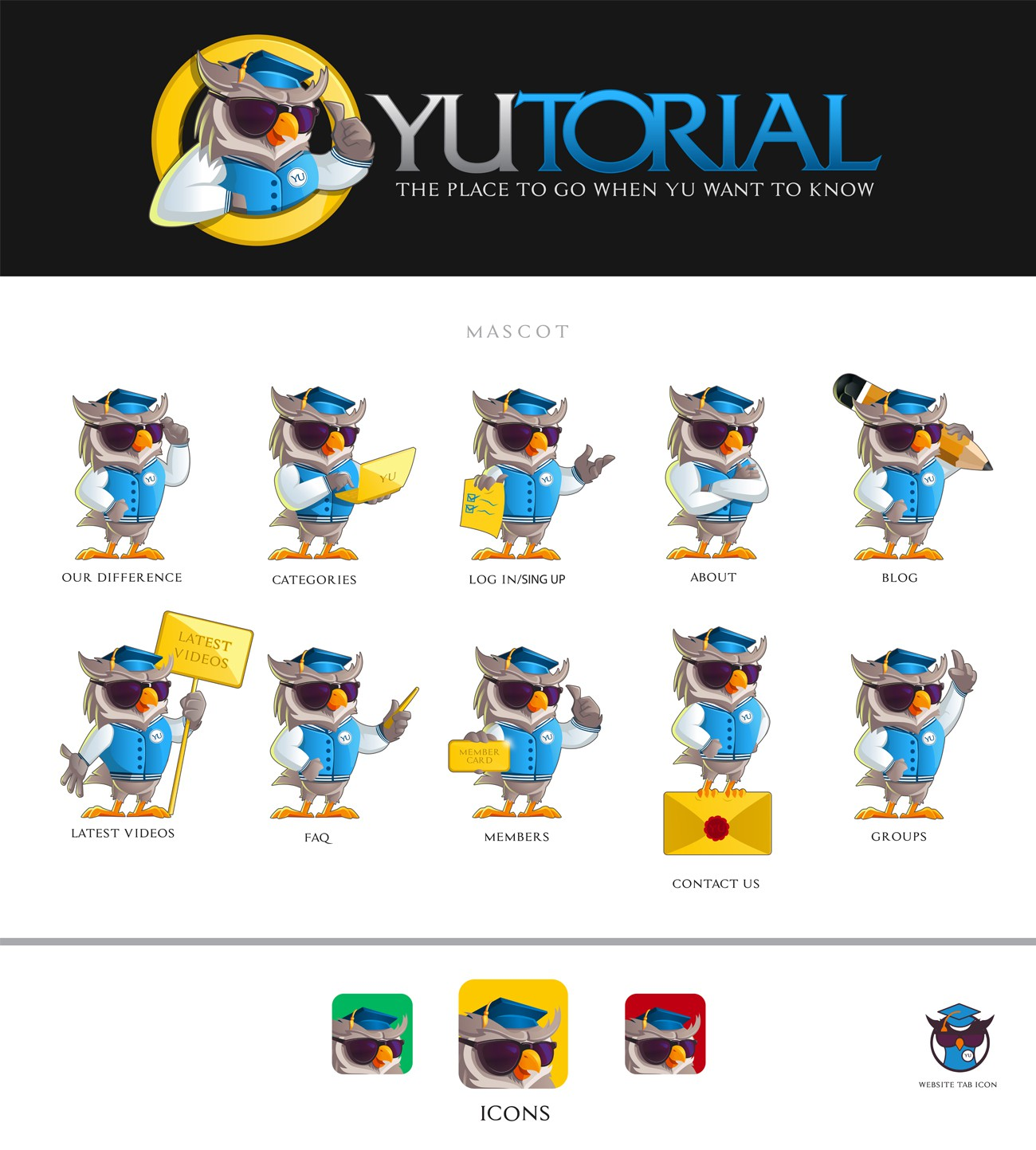 """Looking for a character mascot logo. An """"edgy"""" Owl Logo for a video sharing website. Check site www.Yutorial.com"""