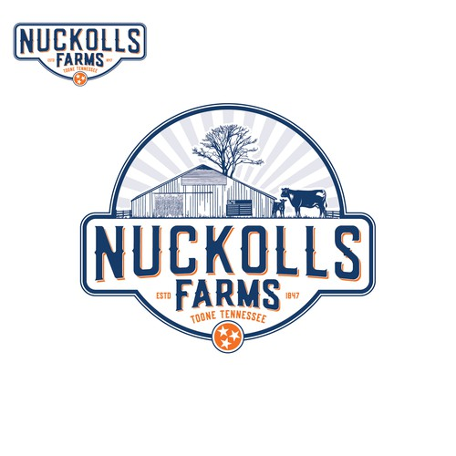 Vintage logo for a cattle farm.