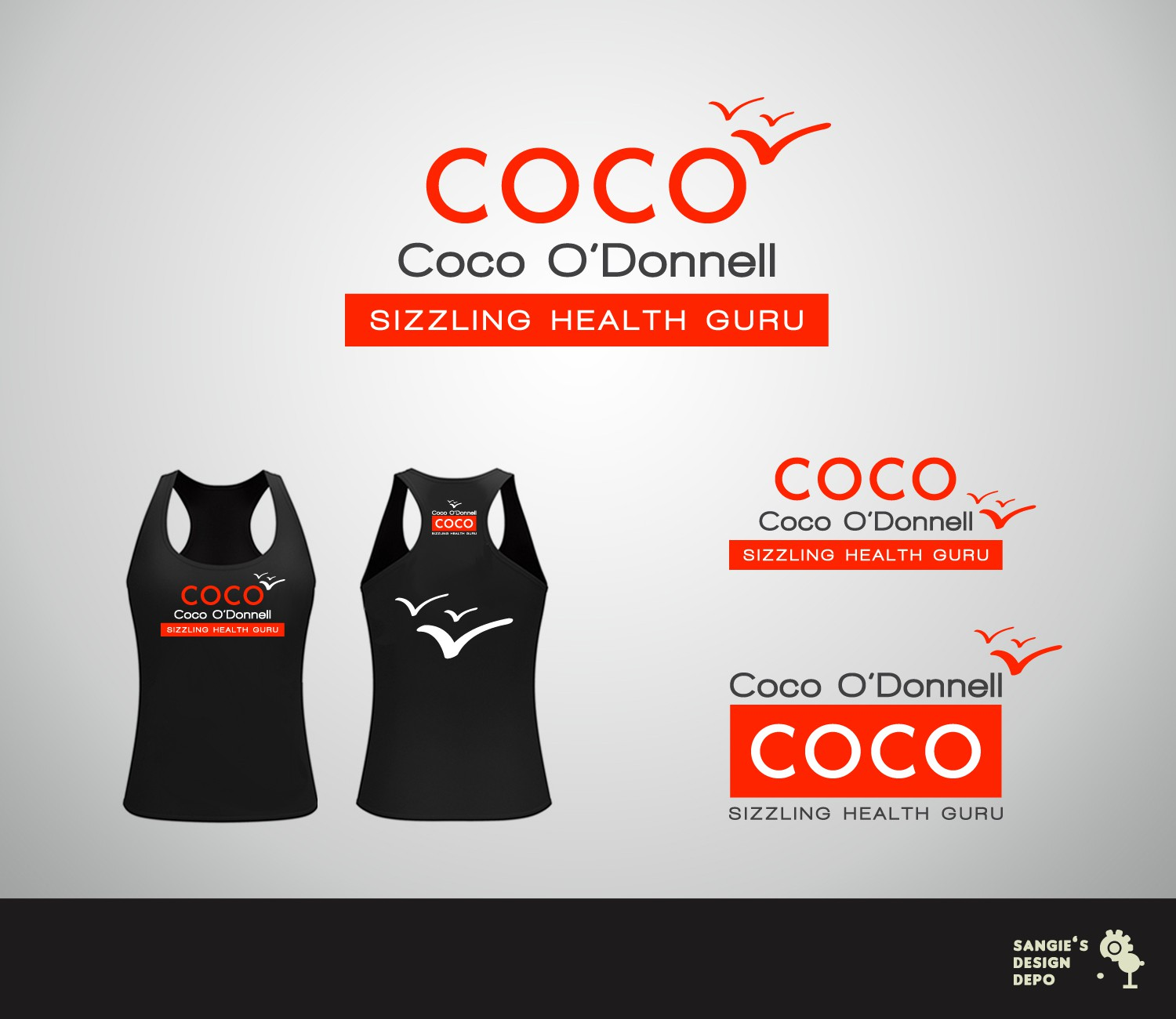 Create the next logo for Coco O'Donnell, Sizzling Health Guru
