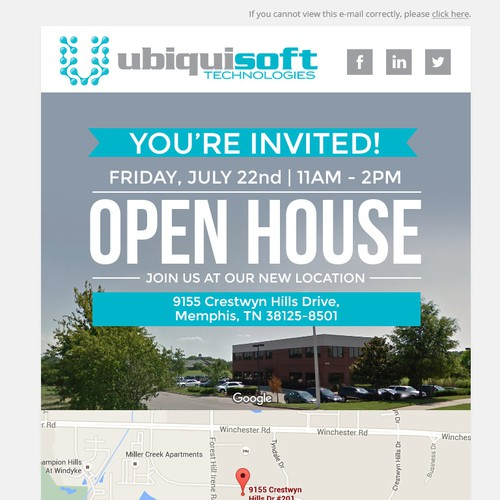 Open House invitation email