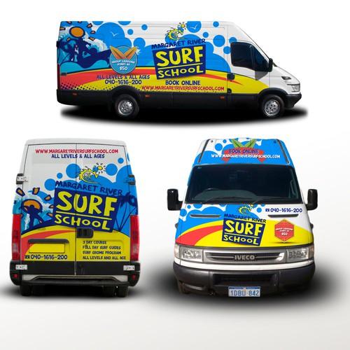 fun van wrap for surf school