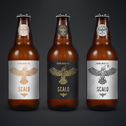 Label design and illustration for Viking Mead