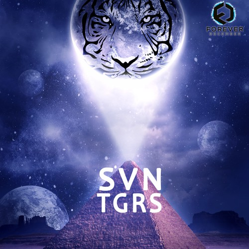 Sci-fi landscape with tiger on planet