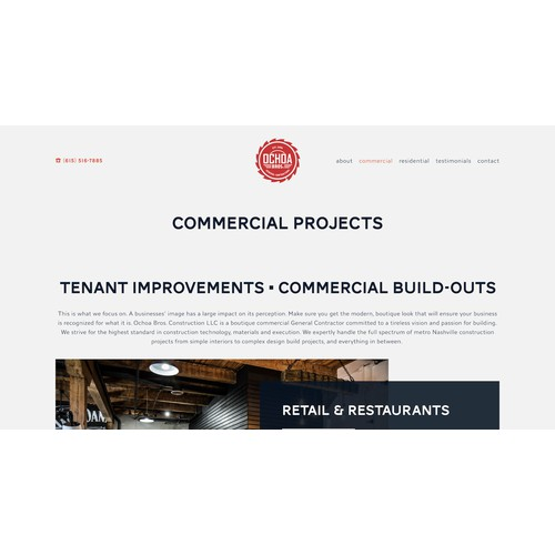Squarespace design for general contractor in Nashville